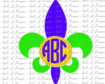 Fleur de Lis and Coin Monogram, Mardi Gras, Fat tuesday, SVG, DXF, PDF