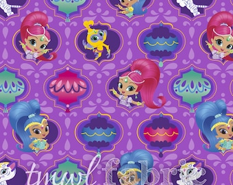 Woven Fabric - Nickelodeon Shimmer & Shine Badges - Fat Quarter Yard +