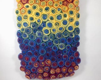 Felted Wall Art, Two-dimensional Swirl Style Rainbow