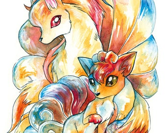 A3 Pokemon Print ~ Vulpix and Ninetales