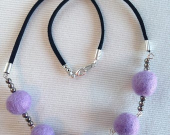 women Bohemian chic necklace purple violet felted wool balls and beads black