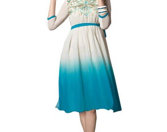 Indian Pakistani Bollywood Designer  Blue & Off White Color 60 Gm Georgette Kurti For Women Ethnic Dress Tunic Top