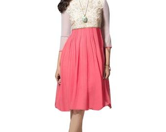 Indian Pakistani Kurti Kurta Top Tunic Bollywood Designer Dusty Pink & Off White Color 60 Gm Georgette For Women Ethnic Dress
