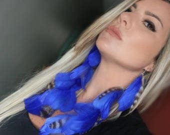 Beautiful blue Feather Earrings, turquoise long earrings, boho earrings, gypsy earrings, trend feathers earrings, boho
