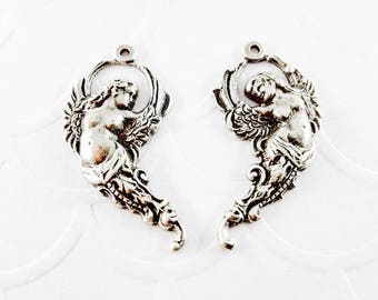 2Pcs Antique silver plated Filigree Winged Goddess Right and Left 28x15mm, Goddess charm pendant stampings #A161