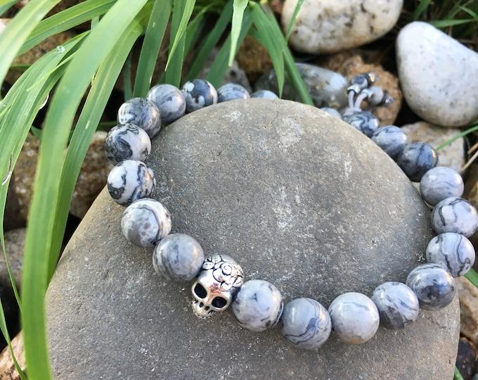 Featured listing image: Men's Sugar Skull Positive Energy Bracelet | Grey Wrist Mala | Healing Mala Beads | Crazy Lace Agate | Reiki Infused Gemstone | Positivity