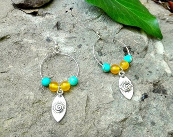Ethnic earrings stones and silver tribal pendant