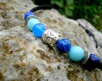 Buddha bracelet macrame lapis lazuli amazonite and agates stones