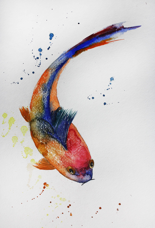 Original watercolor painting fish koi fish art gold fish for Koi carp art