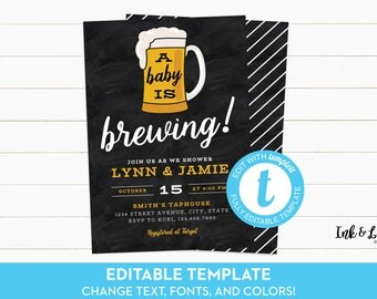 A Baby is Brewing Invitation - Beer Baby Shower Invite - Coed Baby Shower - Baby Shower Invitation Template - DIY Printable - Templett