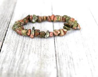 ONE Unakite Bead Bracelet, Healing Jewelry, Meditation Jewelry, Heart Chakra Stone, Gifts For Her, Spirituality, Yoga Jewelry, Natural Beads