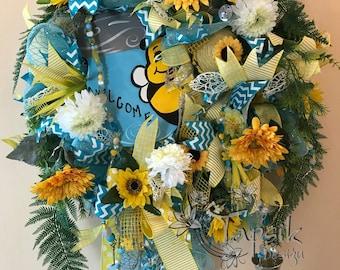 Summer, Sunflower Wreath, Welcome Wreath, Mason Jar Wreath, Front Door Wreath, Flower Wreath, Deco Mesh Wreath, Mothers Day Wreath