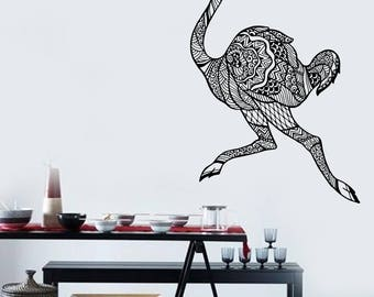 Wall Art Mural of Funny Animal Running Ostrich Decor for Kids Room  (#2655dn)