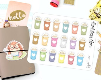 Pastel Coffee Stickers - Frappe Stickers -  Iced Coffee Stickers - Coffee Planner Stickers - 091