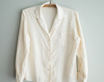 Cream Silk Blouse / Off White Button Up Top / Women's Vintage Clothing