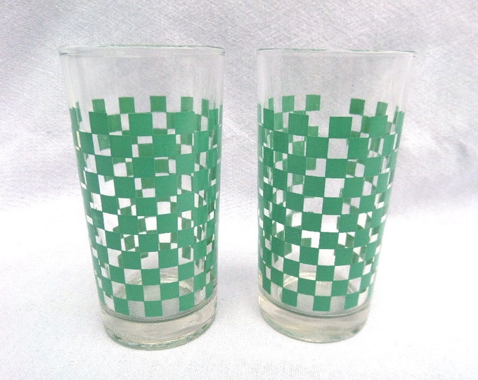 "Toyo Nasic Tumbler, Set of 2, Mid Century Japanese Glass Tumblers, Excellent Condition, 4.75"" x 2.5"", Mint Green Chequered Pattern"