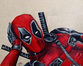 Deadpool Portrait Drawing Print