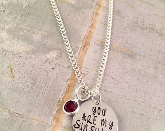 You are my Sunshine necklace, personalized necklace, Sunshine charm necklace, Grandma jewelry, Mother Gift, Mother Daughter, Friend, Sister