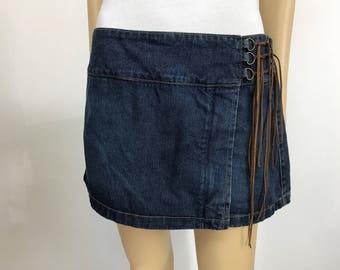 90s denim mini jean skirt skort vintage grunge hippie bohemian small blue jean miniskirt 1990s nineties