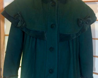 Vintage 50's Rothschild Capelet Cape Deep Green Wool and Velvet/Velveteen Swing Coat M/L