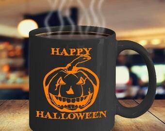 Happy Halloween Coffee Mug | Jack o Lantern Mug | Halloween Tea Mug | Orange And Black | Halloween Drink Mug | Halloween Accessories