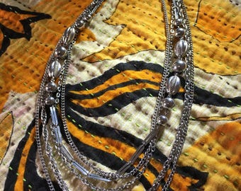 70s retro vintage multi strand necklace, Vintage High Fashion Necklace