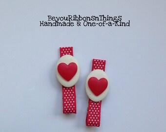 Red Hearts | Hair Clips for Girls | Toddler Barrette | Kids Hair Accessories | Grosgrain Ribbon | Flatback | No Slip Grip