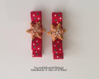Cookies Sprinkles   Hair Clips for Girls   Toddler Barrette   Kids Hair Accessories   Red Grosgrain Ribbon   No Slip Grip   Holidays