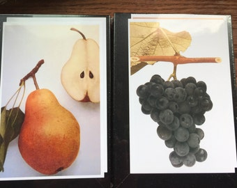 Fresh Fruit prints - 8 by 10 inch framed fruit - Choose one: pears, grapes, strawberries, apples gift - fruit lovers botanical  or buy more