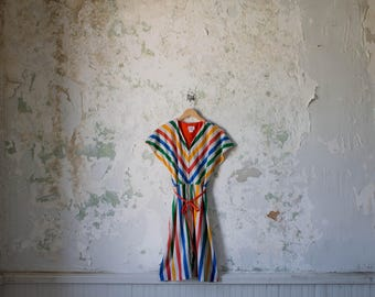 Vintage Rainbow Dress - 70s 1970s Classic Striped Dress - Multicolored Dress Small