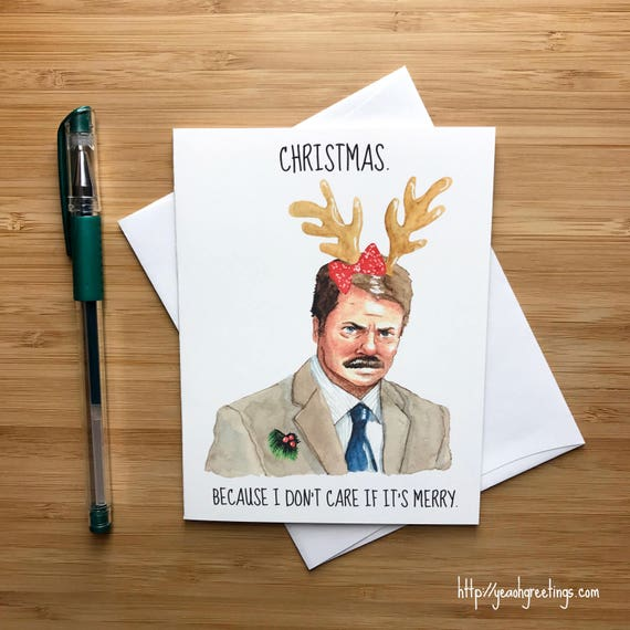 Ron Swanson Christmas Card Funny Parks and Rec Christmas