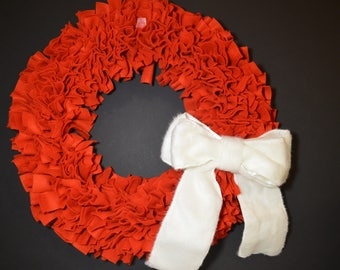 Red Fleece Rag Wreath with White Fur Bow