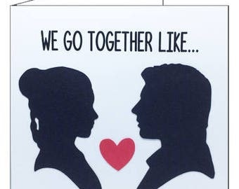 Love greetings card, square. We Go Together Like... Princess Leia & Han  Solo Valentine