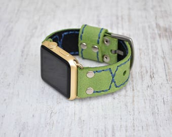Apple watch band leather // Green leather apple watch accessories 38mm / 42mm - apple watch strap leather - lugs adapter - iwatch band women