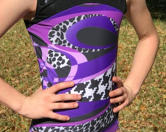 Gymnastics leotard//purple and black leotard