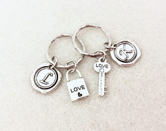 Personalized key and lock couple keychain set couple key chains gift for boyfriend gift for girlfriend gifts for him gift for her