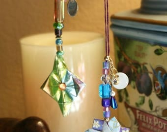 Set Of 2 Origami Extra-Small Hanging Ornaments Green Multi Star Purple Blue Ring