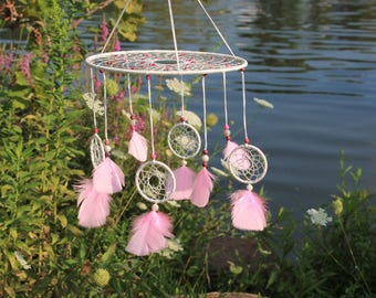 Dreamcatcher mobile - white and pink crazy lace agate