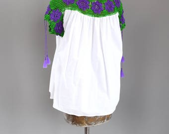 Vintage Crochet Mexican Drop Shoulder Blouse