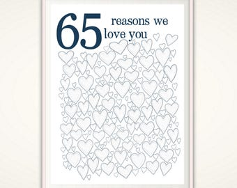 65th Birthday Gift - 65th Birthday PRINTABLES, Dad, Posters, Decorations, 65th Wedding Anniversary, Alternative Guest Book, 65 Years Old