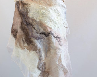 Felted scarf Nuno felted shawl Felted scarf Nuno felted wrap Merino wool shawl Wool scarf Wool wrap Unique wrap White Shawl Art Scarf OOAK