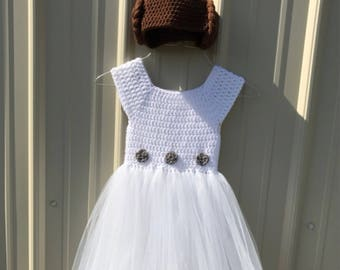 Crochet Princess Leia Inspired Tutu Dress Costume