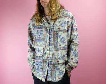 Vintage 90s SILK Button Down Shirt - Rare All Over Print Long Sleeve Silk Shirt - Crazy Print Rad Shirt - Silk Land Sport Shirt - Sz Large