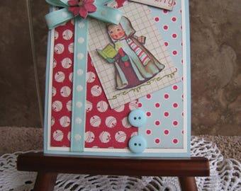 Sweet Caroler Handmade Christmas Card - Vintage