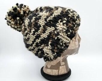 Pom Pom Beanie, Camo Hat, Hat for Women, Hat for Men, Acrylic Hat, Wool Hat, Pom Pom Hat, Chunky Beanie, Bobble Hat, Camouflage