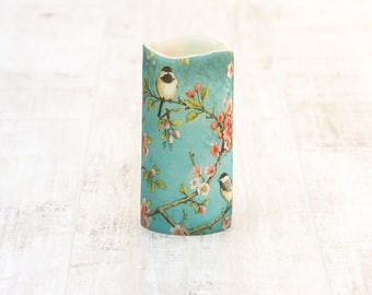 Cherry Blossom Pillar Candle With Bird Print, Battery Operated LED Candle, Whimsical Home Decor, Mothers Day Gift For Her