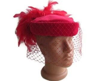 Red velvet tablet HAT Connor Regd feathers pill box hat 60's hat birdcage veil hat Red veiled hat Kate Middleton style fascinator hat