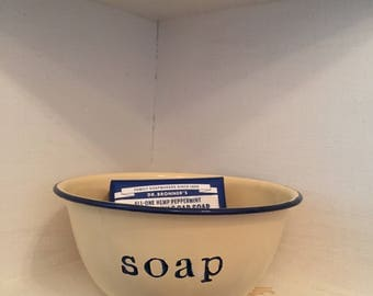 Vintage enamelware bowl.  To keep  wrapped soap in your bathroom, closet, or cupboard.   Hand stamped in permanent ink.