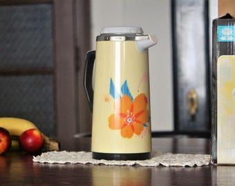 Aluminium Travel Thermos - Vintage Thermos - Vacuum Flask - Chinese Thermos Flask - Coffee Thermos - Hot Drink Thermos - Picnic Thermos