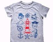 Ocean Friends baby/kids tee, Heather Grey, nautical theme t-shirt, unisex kids shirt, pirate theme tee
